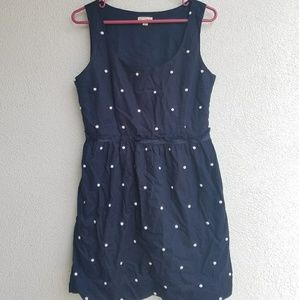White-dotted navy dress